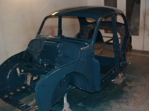 Bare morris minor shell with top coat